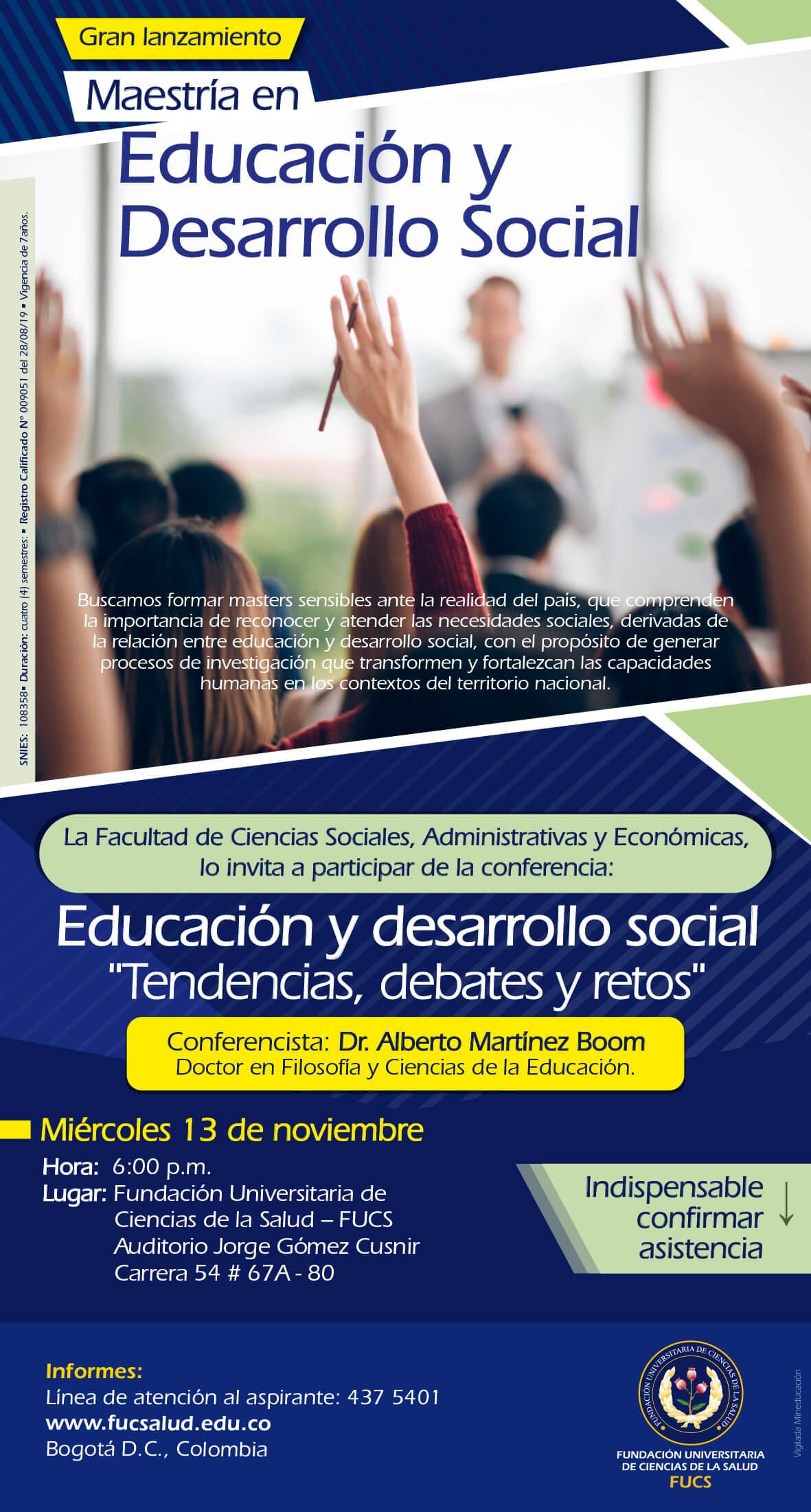 Lanzamiento Maestría en Educación y Desarrollo Social FUCS